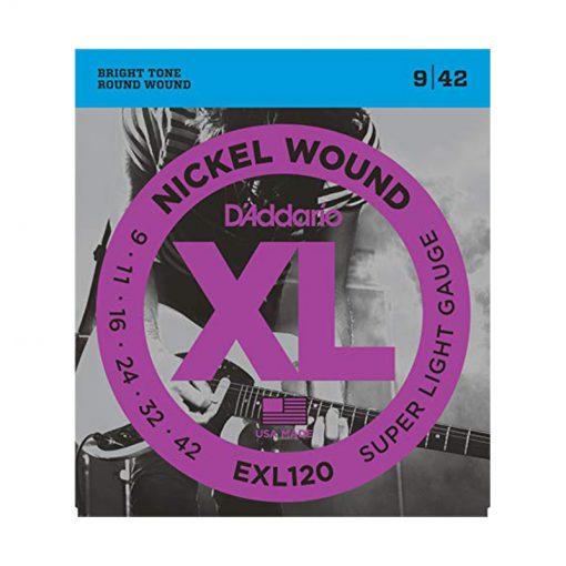 D'Addario EXL120 Nickel Wound Electric Guitar Strings, Super Light, 9-42-1