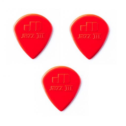 Dunlop Jazz III Pick, Red Nylon, 3 pc pack -1
