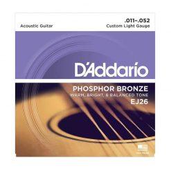 DAddario EJ26 Phosphor Bronze Acoustic Guitar Strings, Custom Light, 11-52-01