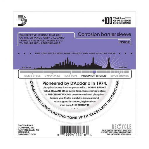 DAddario EJ26 Phosphor Bronze Acoustic Guitar Strings, Custom Light, 11-52-02