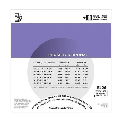 DAddario EJ26 Phosphor Bronze Acoustic Guitar Strings, Custom Light, 11-52-03
