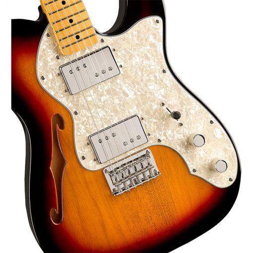 Squier Classic Vibe 70s Telecaster Thinline Electric Guitar,3-Tone Sunburst-05