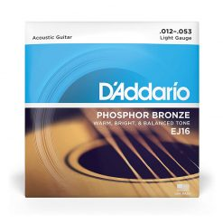 D'Addario EJ16 Phosphor Bronze Acoustic Guitar Strings, .012-.053-1